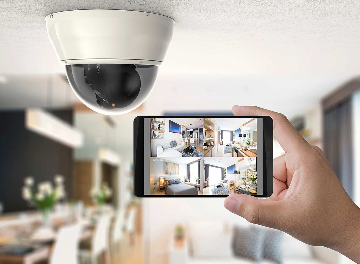 hand holding 3d rendering mobile connect with security camera ; Shutterstock ID 1038714985; Purchase Order: -